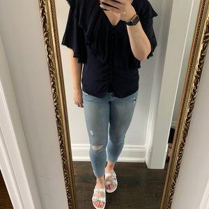 Chloe Ruffle Blouse - Size L (medium)